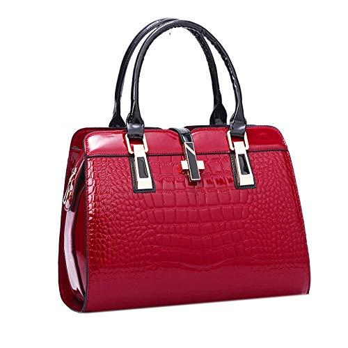 Charme In Den Händen Elegante Alligator-Lackleder-Frauen-Handtaschen-Frauen-Schulter-Beutel-Kreuz-Verschluss-Entwurfs-Dame Tote Handbag,Red