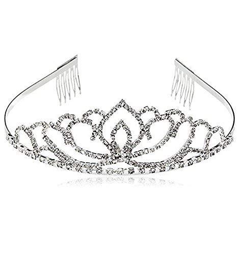 Hosaire 1x Frau Hochzeit Diadem Braut Brautjungfern Strass Kronen Stirnband Damen Schließe Haarspange Pin