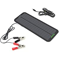 ALLPOWERS 18v 12v 5W Portable Solar Car Battery Charger Bundle with Cigarette Lighter Plug, Battery Charging Clip Line, Suction Cups & Manual 9