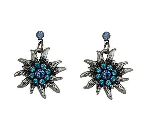 Trachtenschmuck Dirndl Ohrstecker Edelweiss Silberfarben mit Strass Aquamarine Light Sapphire blau Ohrringe