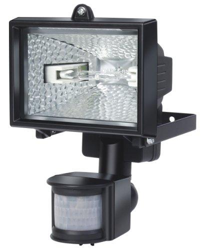 Brennenstuhl Halogenstrahler mit Bewegungsmelder Infrarot / Flutlicht ideal als Baustrahler (Außenstrahler IP44 geprüft, 120 Watt) Farbe: schwarz