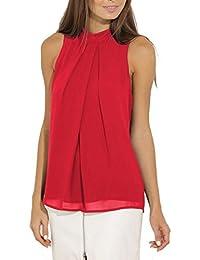 Bigood Top sans Manche Femme T-Shirt Chemise Blouse Mousseline de Soie Col  Rond Chemisier e385efbf34a0