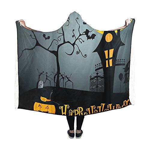 JOCHUAN Hooded Blanket Niedliche Halloween Decke 60x50 Zoll Comfotable Hooded Throw Wrap