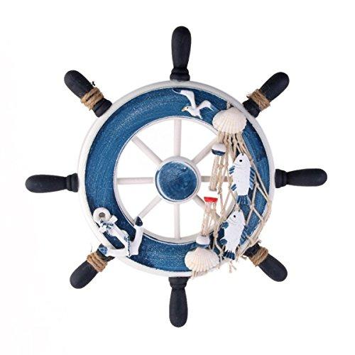 WINOMO Wanddeko Steuerrad aus Holz (Blau)