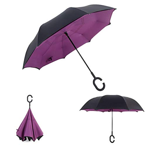 HMKLDFTY Paraguas inverso Plegable de Doble Capa Invertida a Prueba de Viento Lluvia Paraguas de Coche para Las Mujeres, púrpura