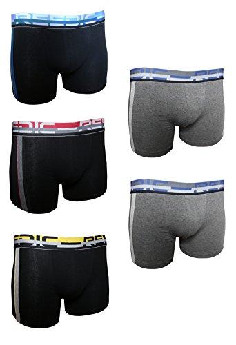 Reedic Herren Boxershorts, Baumwolle, 5er Pack je 1x schwarz-gelb, schwarz-rot, blau 2x grau