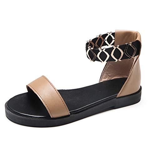 Sandales Femmes Plates Pas Cher ELECTRI Chaussures de Travail Cheville Talons Bas Mode Décontractée Sandales à Bande élastiqu