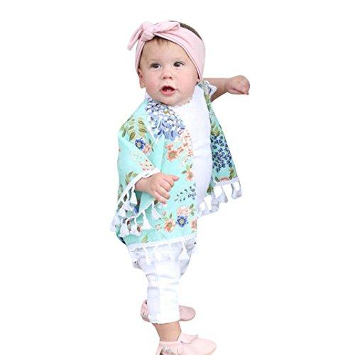 Ropa para Padres e Hijos, Mamá y yo bebé niñas Cárdigan Kimono con Cuello Chal de impresión Floral...