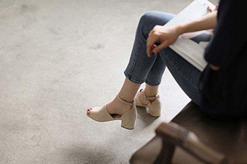 NobS Pelle Di Pelle Di Pecora Scrub Peep Toe Sandali Di Bocca Di Pesce Sandalo Con Tacco A Forma Di Solido Sandali Con Tacco Basso nude