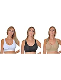 10e31191c583c Pink Rice® 3-Pack Seamless Sleep Bra Leisure Stretch Sports Vest Wide  Straps Wire Free Comfort Bra Women Girls Crop Top Available Sizes  S…