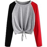 Damen T Shirt,Geili Frauen Casual Langarm Farbblock Patchwork Pullover Tops Damen Knoten Krawatte Bluse Tee Mode... preisvergleich bei billige-tabletten.eu