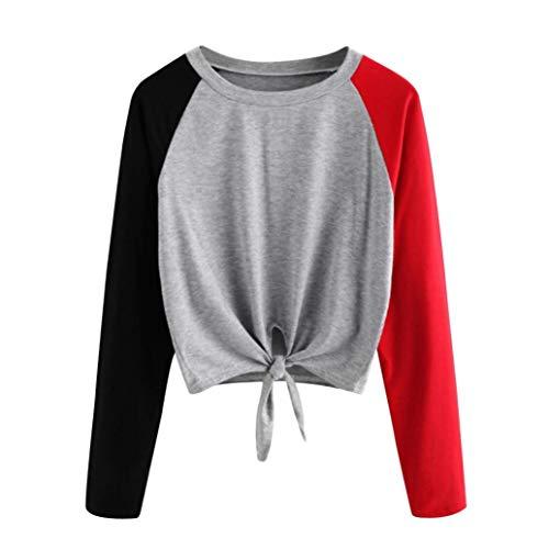 Damen T Shirt,Geili Frauen Casual Langarm Farbblock Patchwork Pullover Tops Damen Knoten Krawatte Bluse Tee Mode Crop Tops T-Shirt Langarmshirt Basictop
