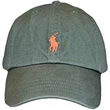 b297b4de4ba6 Ralph Lauren Casquette Vert Kaki Logo Orange pour Homme