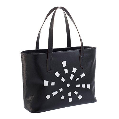 Tilla...Le Borse , Sac pour femme à porter à l'épaule nero (intaglio sole sfondo bianco)