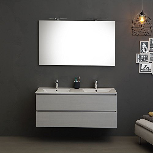 Mobile bagno 120 cm con 2 cassetti berlin promenade doppio lavabo luce a led