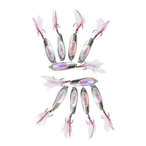 10er Set Weitwurfblinker 15g Angelzubehör zum angeln von Hecht Barsch Meerforelle Forelle Zander Blinker Spinner Kunstköder Köder für weite Würfe Angelköder Streamer Angelhaken Angel Zubehör Spoon -