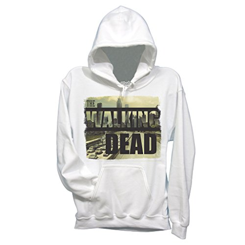 Felpa THE WALKING DEAD CITY SKYLINE - FILM by Mush Dress Your Style - Uomo-S-Bianca