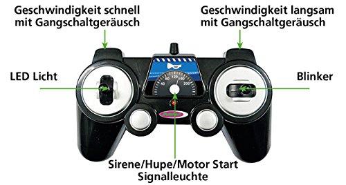 Jamara 410023 - Mercedes E350 Coupe 1:16 Polizei 2,4GHz - deutsche Polizeisirene, Alarmanlage, Startton, Beschleunigungston, Bremston, Hupe, Zusperrton, Signalleuchte, Blinker, 4 Geschwindigkeiten - 5