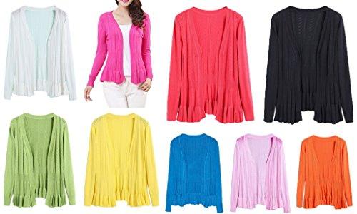 Smile YKK Femme Cardigan Tricot Manteau Pull Blouson Uni Pour Printemps Automne Orange