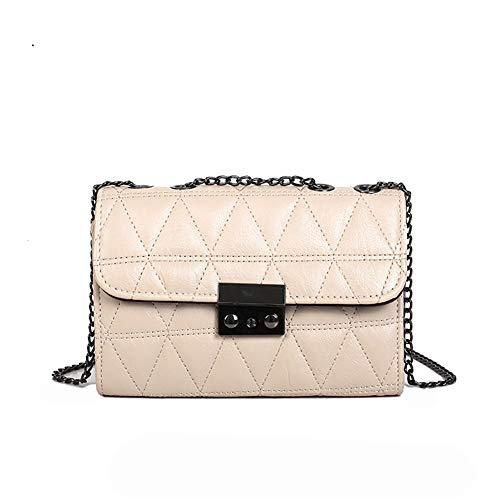 Faux Leder Schnalle (jEZmiSy Mode Faux Leder Metall Kette Schnalle Frauen Umhängetasche Crossbody Handtasche White)