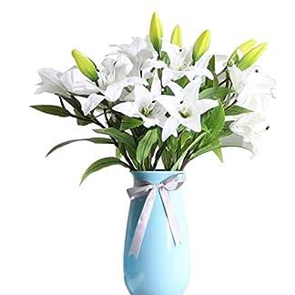 Flor Artificial Lirio, GKONG Pack de 4 Ramos Realista Flores Ramos de Aspecto Natural Lirio con 3 Flores y Ramas, Ideal Para Habitación Parte Festivales Celebración Jarrón Decoración-Blanco