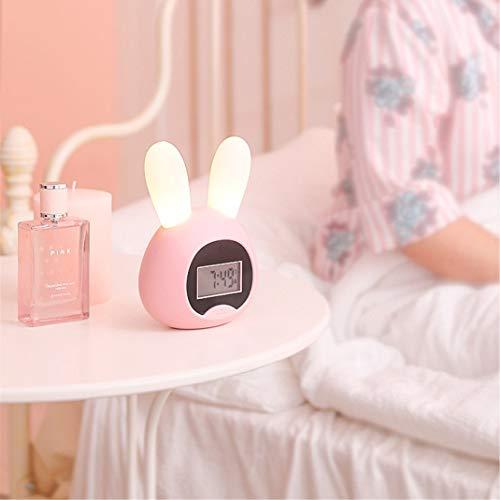 FENGCLOCK Cartoon Kaninchen Aufwachen Licht Wecker, Student Stumm Wake Up Licht Zeitgesteuerter Wecker, Aufladen Nachtlicht Kleiner Wecker Uhr,Pink,Rabbit - Kleine Wanduhr Digital
