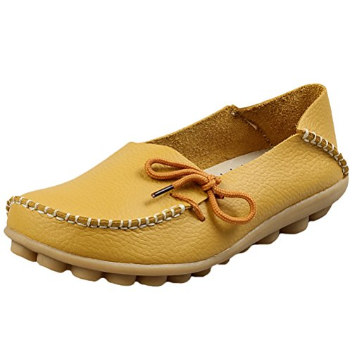 Vogstyle Moccasin Femme Casual Plat Tout-match Chaussures 33-43 Style-1 Jaune
