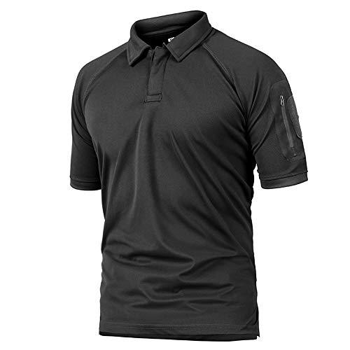 NISHISHOUZI Herren Polo Kurzarm Polo Shirt Polos,Schwarz Herren Militär Polo Shirt Atmungsaktiv Army Combat Tactical Polo Herren Schnelltrocknend Kurzarm Performance Polo Shirts, S -