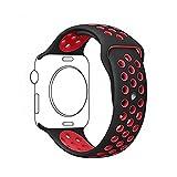 Ontube 42MM Soft Silikon Ersatzband mit Bel¨¹ftungsl?chern f¨¹r Apple Watch Armband Serie 3 Serie 2, Serie 1, Sport, Edition, M/L Schwarz/Rot