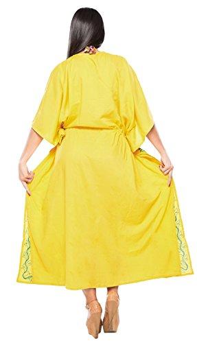 La Leela Designer vertuschen langen Strand Abendkleid Rayon Badebekleidung Badeanzug Kaftan Frauen Kimono Gelb