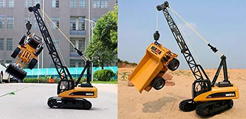 RC Auto kaufen Baufahrzeug Bild 5: s-idee® S1572 Rc Kranwagen Bagger mit Ketten Licht Sound Metallbauteile 15 Kanal 1:14 mit 2,4 GHz Kran Huina 1572*