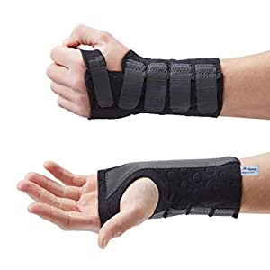 Actesso Black Stomatex Wrist Support Splint: Ideal for Reducing Pain from Carpal Tunnel, Sprains, or Arthritis. Medically Approved (Small, Left)