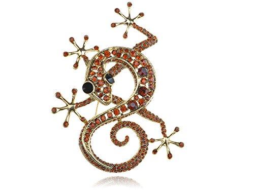 Alilang Frauen Rubinrote Strasssteine Gecko Reptil Goldfarben Tiermuster Brosche (Tragetaschen Mäntel Für Frauen)