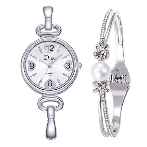 Knowin Damen Uhren Armband Verschluss Armbanduhr Kristall Edelstahl Gürtel Damen Quarz Diamant Klassische Mode Romantisch + Schmuck Manschette Armband Set (Gold/Silber/Rosegold)