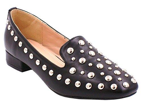 SHU CRAZY Femmes Simili Cuir Clouté Talon Plat Mocassins à Enfiler Chaussures Plates - K42 Noir
