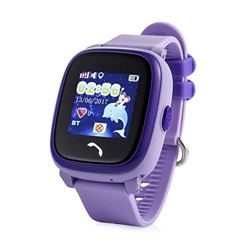 JBC GPS-Telefon Uhr Wasserdicht OHNE Abhörfunktion, für Kinder, SOS Notruf+Telefonfunktion, Live GPS+LBS Positionierung, funktioniert weltweit, Anleitung + App + Support auf deutsch (Lila)