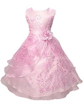 Free Fisher - Organza ragazza vestito ricamato con paillette da ragazza Princess-Abito da sposa