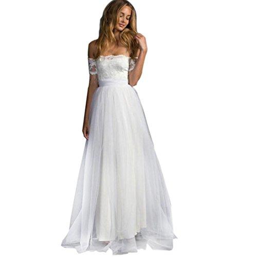 Kleid Damen Kolylong Frauen Elegant Trägerlos Lang Spitzenkleid Vintage Off Schulter Kleider Maxi...