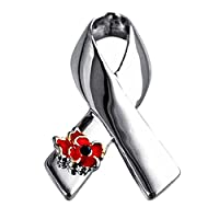 Pu Ran Fashion Ribbon Poppy Brooch Pin Breastpin Evening Party Jewelry - Silver