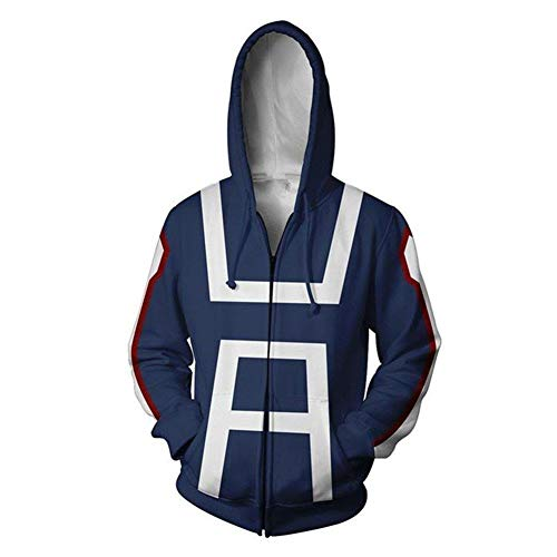 no Hero Zip Up Hoodie Sweatshirt My Hero Academia Cosplay All Might Character Kostüm Unisex Jacke Kapuzenpullover (Art C, XXXL) ()