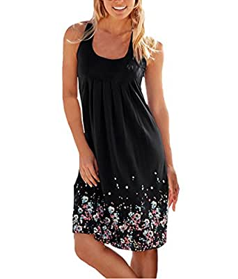 Women's Summer Floral Printed Maxi Dress Sleeveless Sexy Mini Beach Party Sundresses (Small, Black)