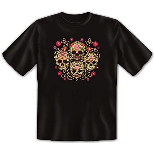Mexika Stuff - Damen und Herren T-Shirt mit dem Motiv: Four skulls Größe: Farbe: schwarz - von van Petersen Shirts Schwarz