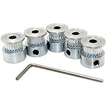 Redrex 5Pcs Aluminio de 5mm Perforado GT2 Polea de Sincronización de 20 Dientes para Impresora 3D Reprap 6mm de Ancho de la Correa de Distribución