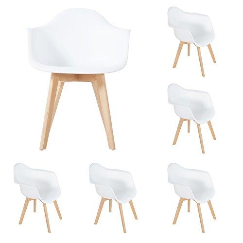 DORAFAIR Lot de 6 Chaises de Salle à Manger Fauteuils Scandinave Chaise de Bureau,Design rétro Jambe de Bois de hêtre Massif - Blanc