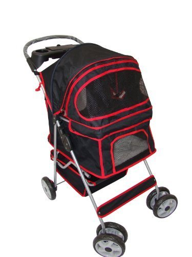 classic-black-4-wheel-pet-stroller-by-bestpet