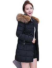 YOUJIA Mujer Abrigo de Invierno largo Cálido Espesar Acolchado Chaqueta con Capucha de Piel Sintética