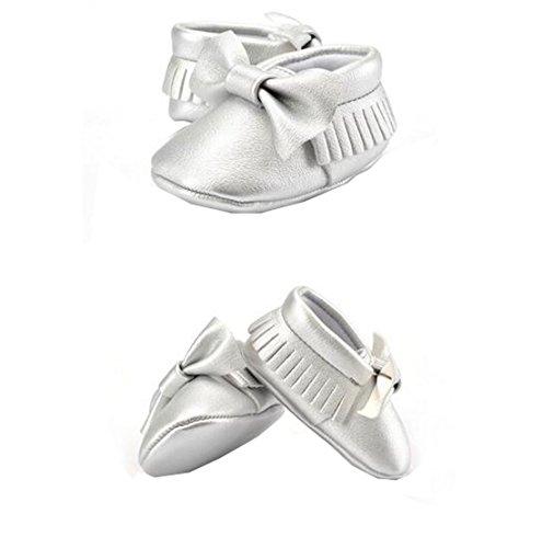 Lucky staryuan ® Baby Säugling Quaste Weich Sohle Leder Schuhe Unisex Kleinkind Schuhe (11cm, Weiß) Silber