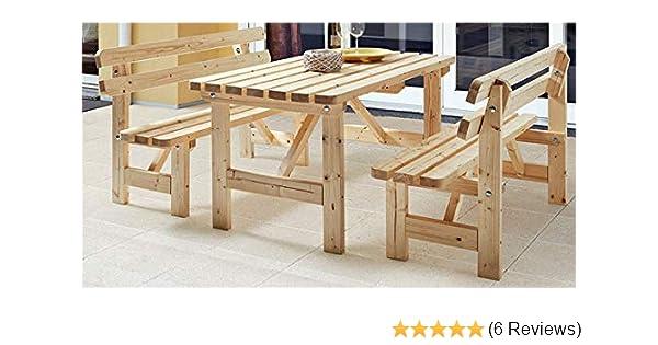 DIVERO Garten Sitzgruppe Gartenmöbel-Garnitur 3-teilig 1 Tisch 150 cm 2 Bänke