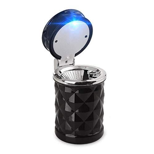 NMDD Posacenere per Auto, portasigarette Portatile a LED per Auto Portatile Fumo per Ufficio Accessori per Viaggi in Auto (Colore: Nero)