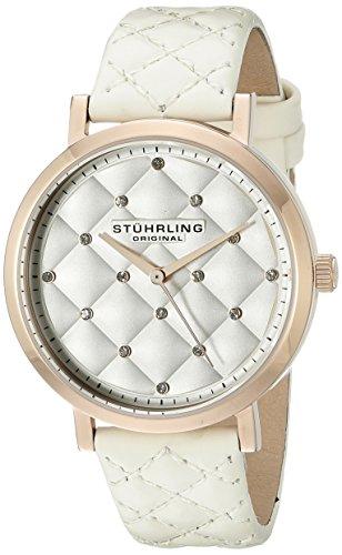 Stuhrling Original Audrey - Reloj de cuarzo, mujer de con correa de cuero, color blanco